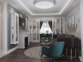 Дизайн-проект квартиры в стиле современная классика. Бискайский залив.